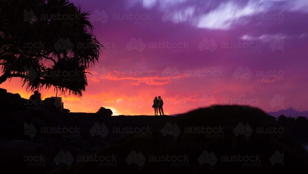 Silhouette of couple and tree with colourful coastal sunset in background - Australian Stock Image