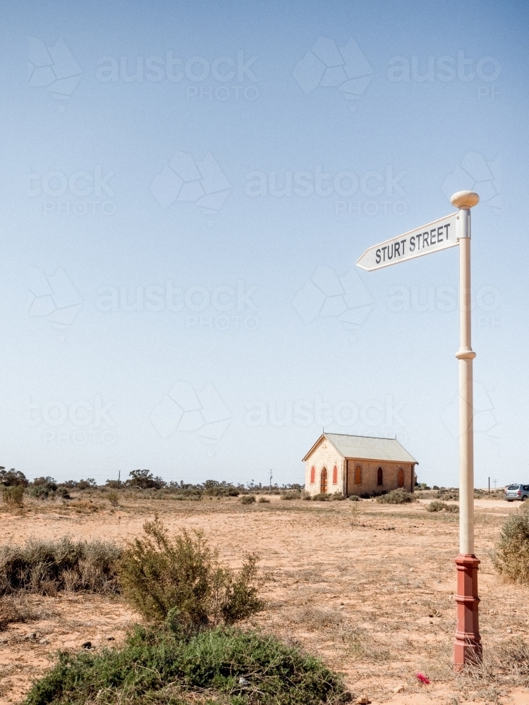 Silverton Chapel and Sturt Street sign - Australian Stock Image