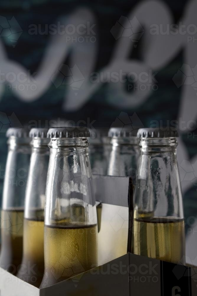 Six pack of beers with clear space for text - Australian Stock Image