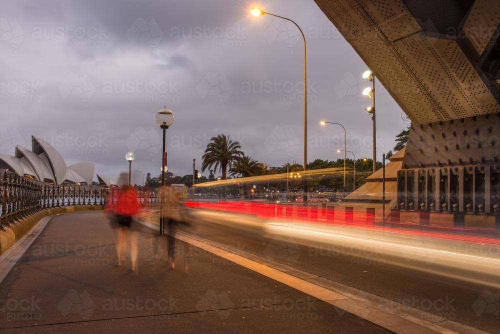 Slow Shutter view of the Opera House from under the harbour bridge - Australian Stock Image