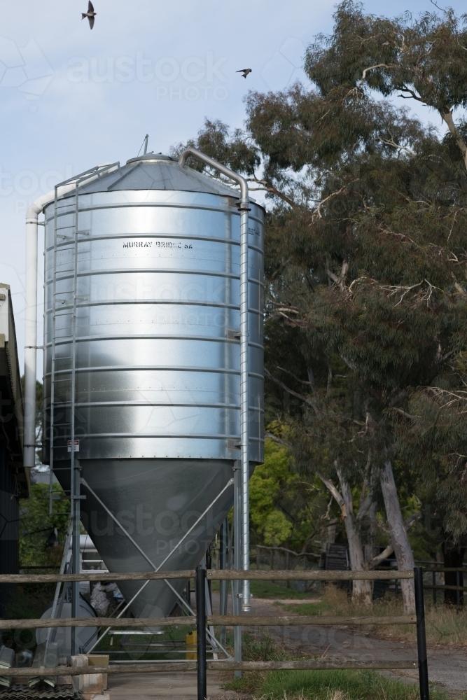 image of small grain storage silo on domestic farm austockphoto. Black Bedroom Furniture Sets. Home Design Ideas