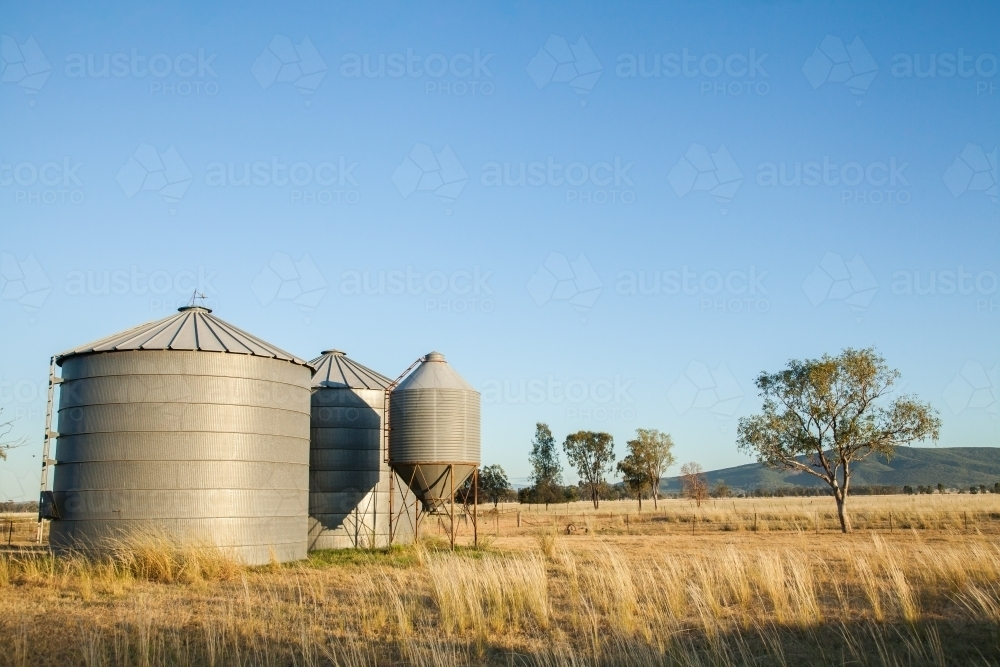 image of small metal grain silos on rural farm property austockphoto. Black Bedroom Furniture Sets. Home Design Ideas