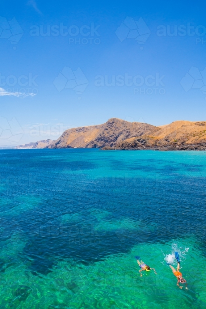 Snorkelling in paradise at Second Valley, Fleurieu Peninsula, South Australia - Australian Stock Image