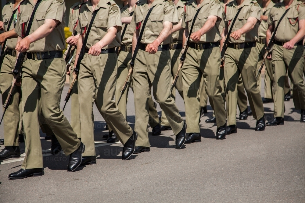 Soldiers marching down the road - Australian Stock Image
