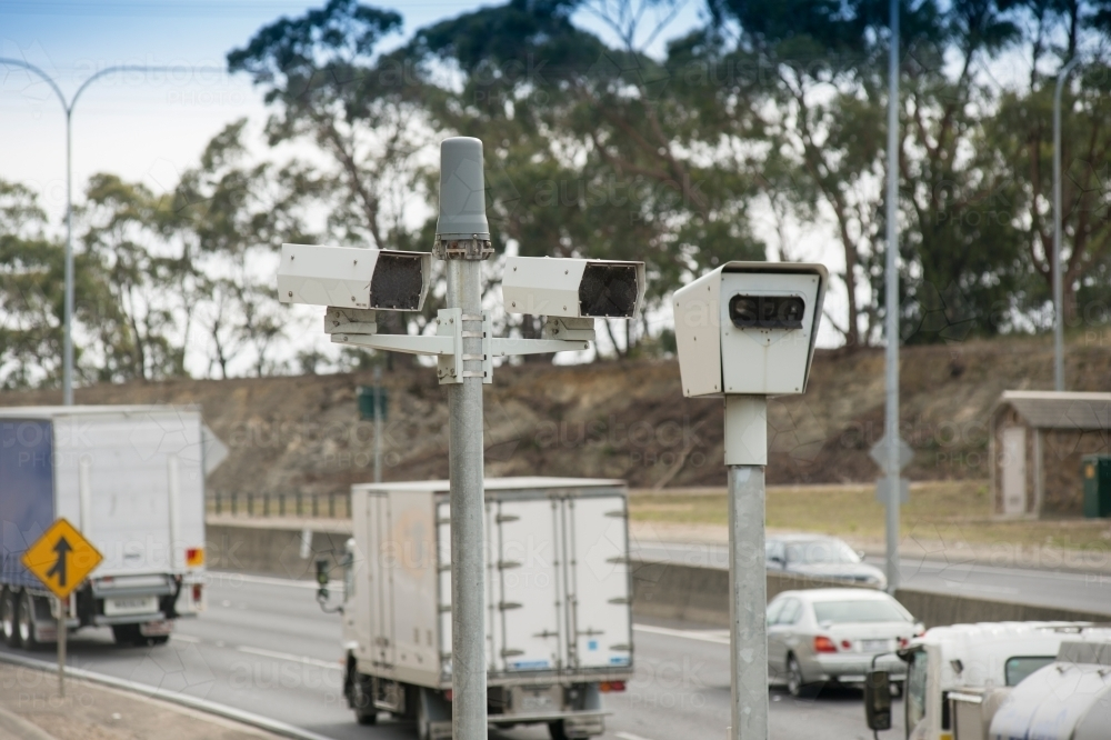 Speed camera along busy highway - Australian Stock Image