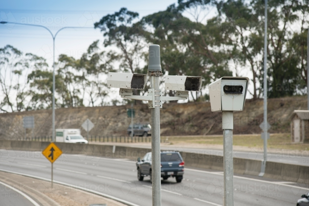Speed camera beside road - Australian Stock Image
