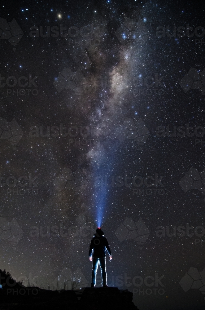 Stargazing on a clear night sky - Australian Stock Image