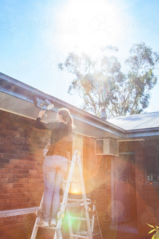 Excellent Image Of Sun Flare Over Ladie Tradie On A Ladder Painting Download Free Architecture Designs Ferenbritishbridgeorg