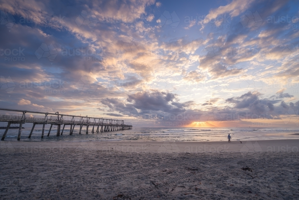 Sunrise over Southport Pumping Jetty - Australian Stock Image