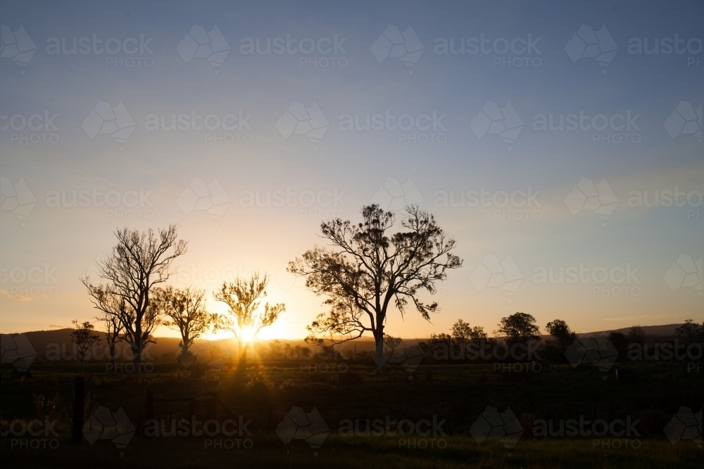 Sunset on a rural property - Australian Stock Image