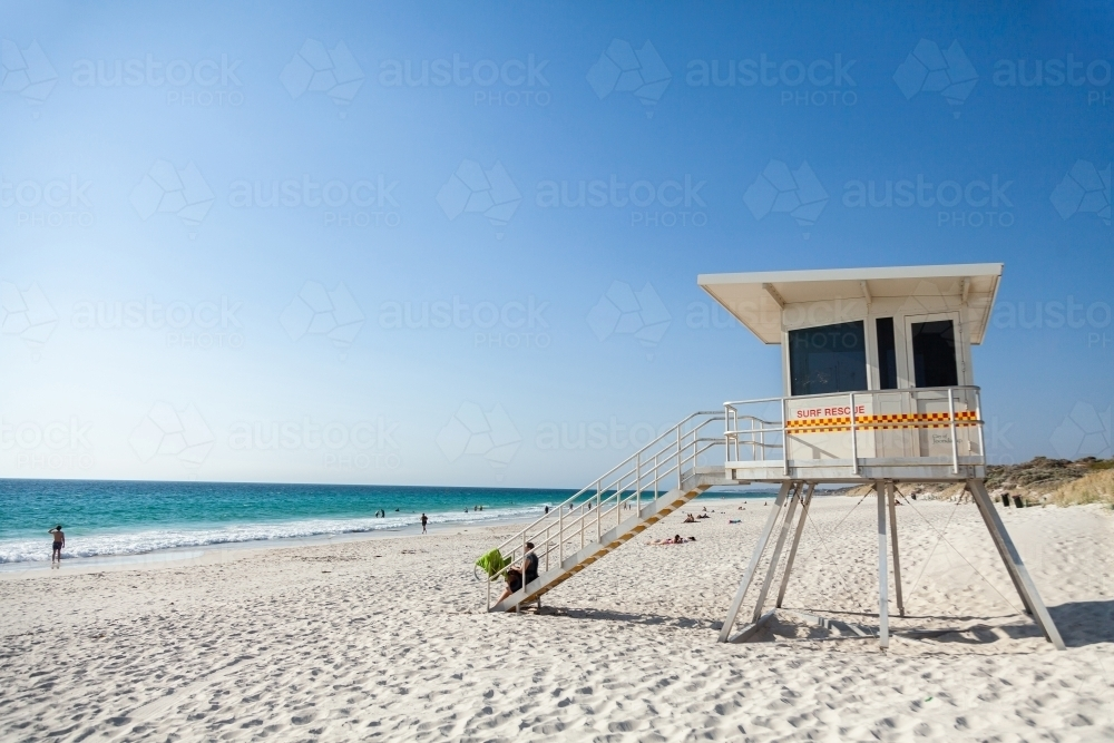 Surf Life saving lookout tower on a beach in summer - Australian Stock Image