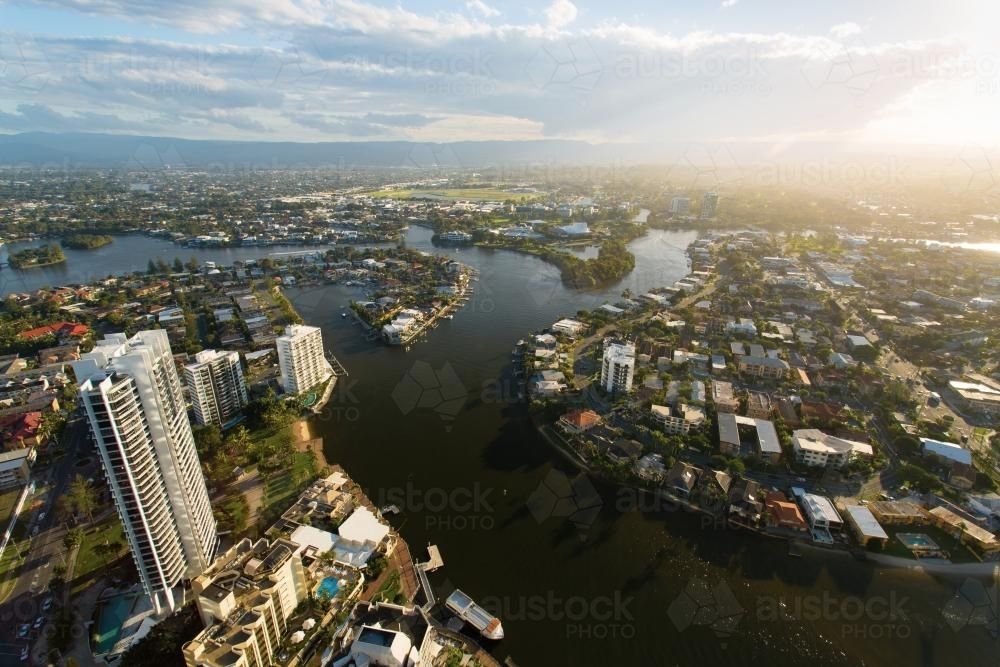 Surfers Paradise view of Nerang River - Australian Stock Image