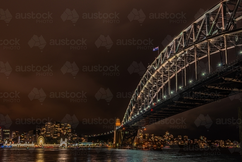 Sydney Harbour Bridge at night - Australian Stock Image