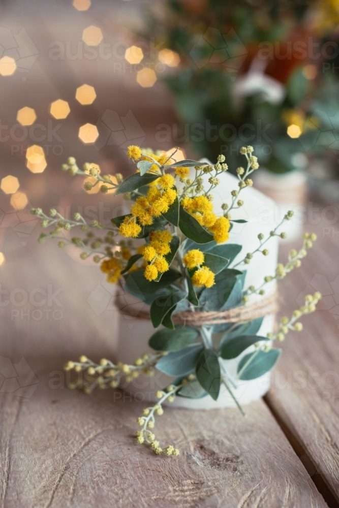 table decor with wattle - Australian Stock Image