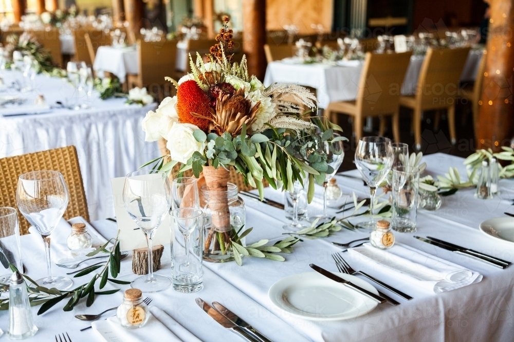 Table setting for wedding reception event - Australian Stock Image