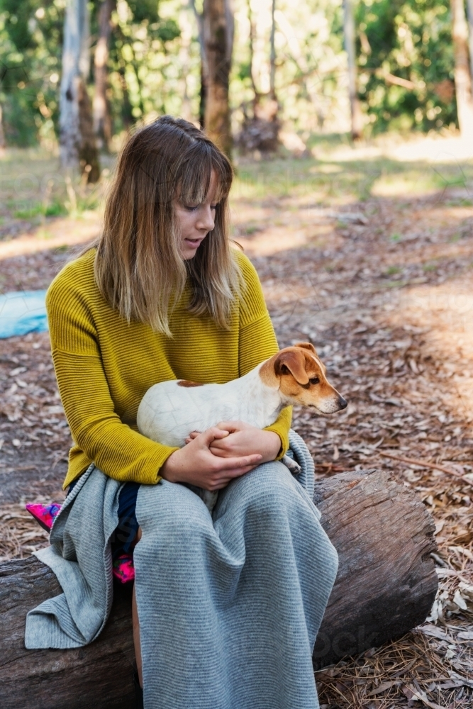 teen girl with Jack Russell puppy dog - Australian Stock Image