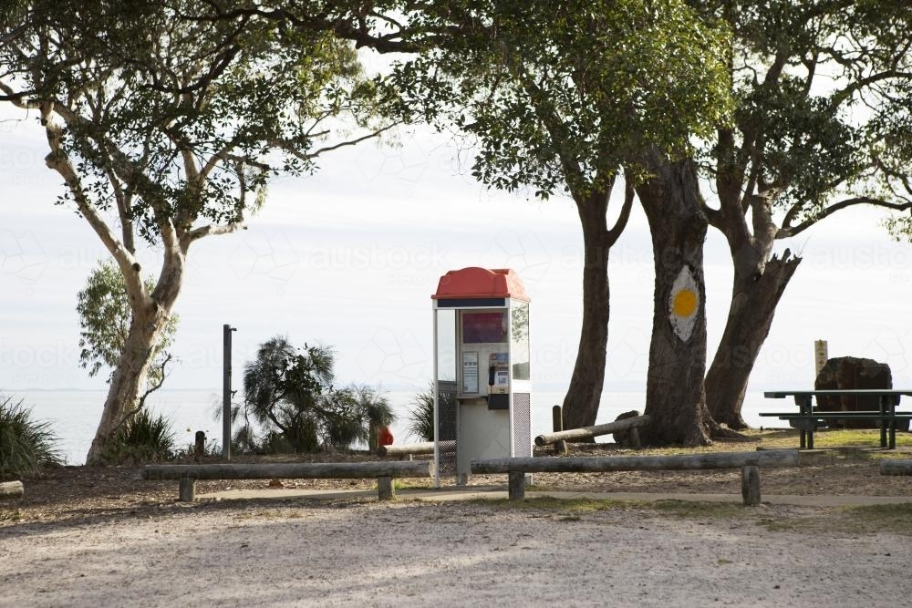 Telephone box in coastal park - Australian Stock Image