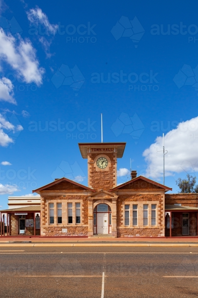 the facade of Menzies town hall - Australian Stock Image