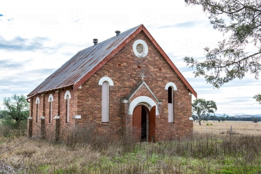 The front of an abandoned country church - Australian Stock Image