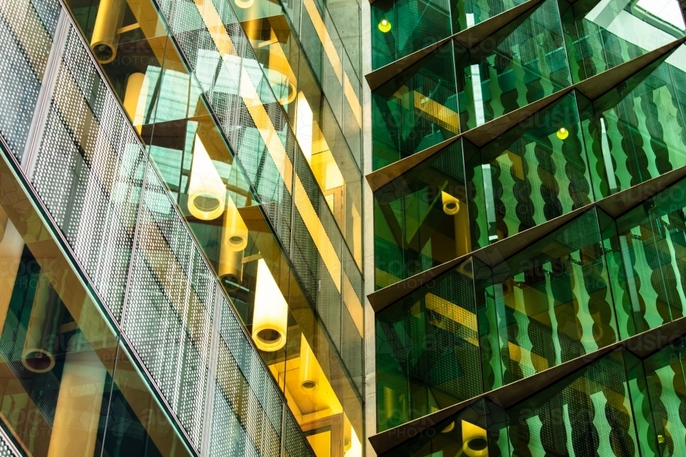 The glass surfaced exterior corner of the TRI building in Brisbane. - Australian Stock Image