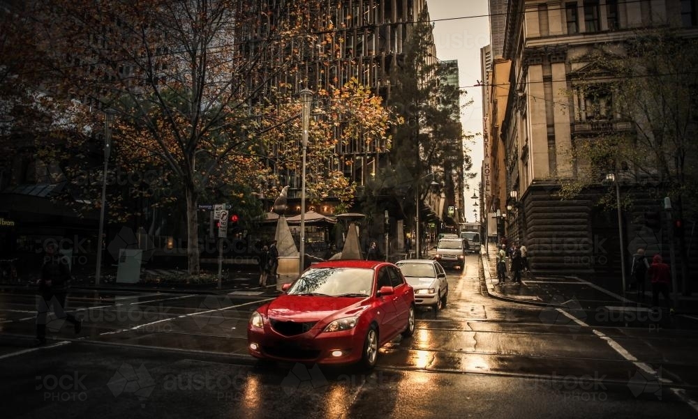 The Melbourne CBD at dawn - cars heading to work - Australian Stock Image