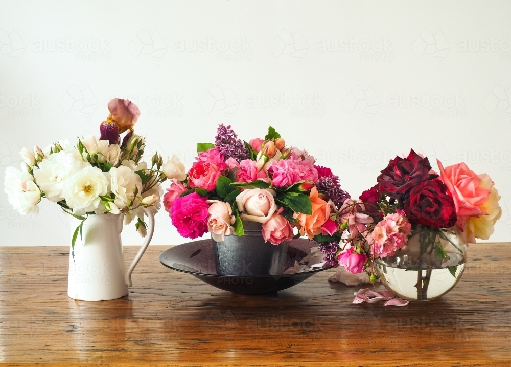 Three vases of fresh farm roses on display - Australian Stock Image