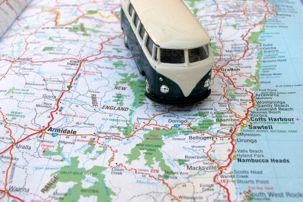 Toy Volkswagen campervan on a road map of Northern New South Wales - Australian Stock Image