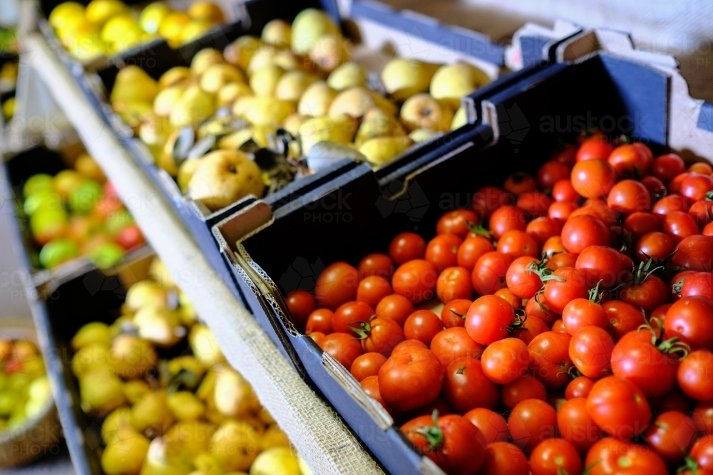 Trays of fruit in organic farm shop - Australian Stock Image