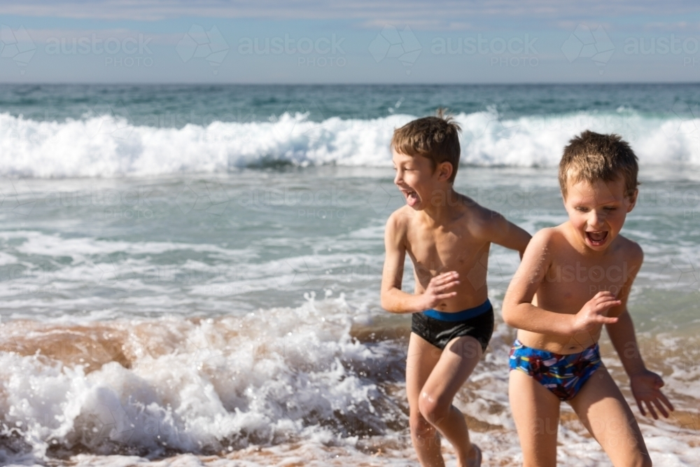 Image of Two boys running away...