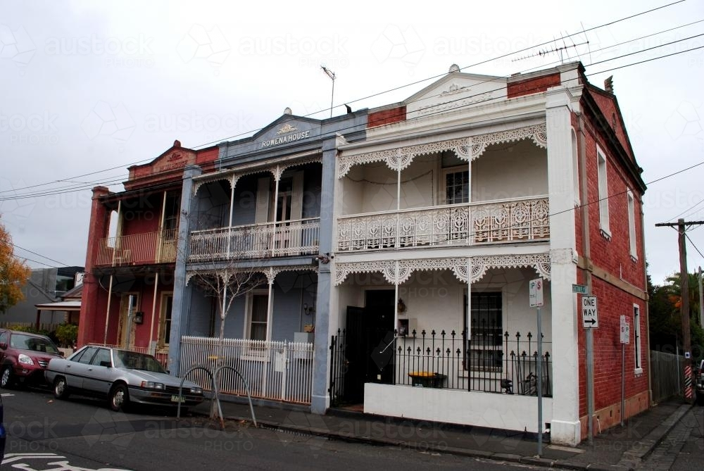 Two-storey terraced houses in Richmond, Melbourne - Australian Stock Image