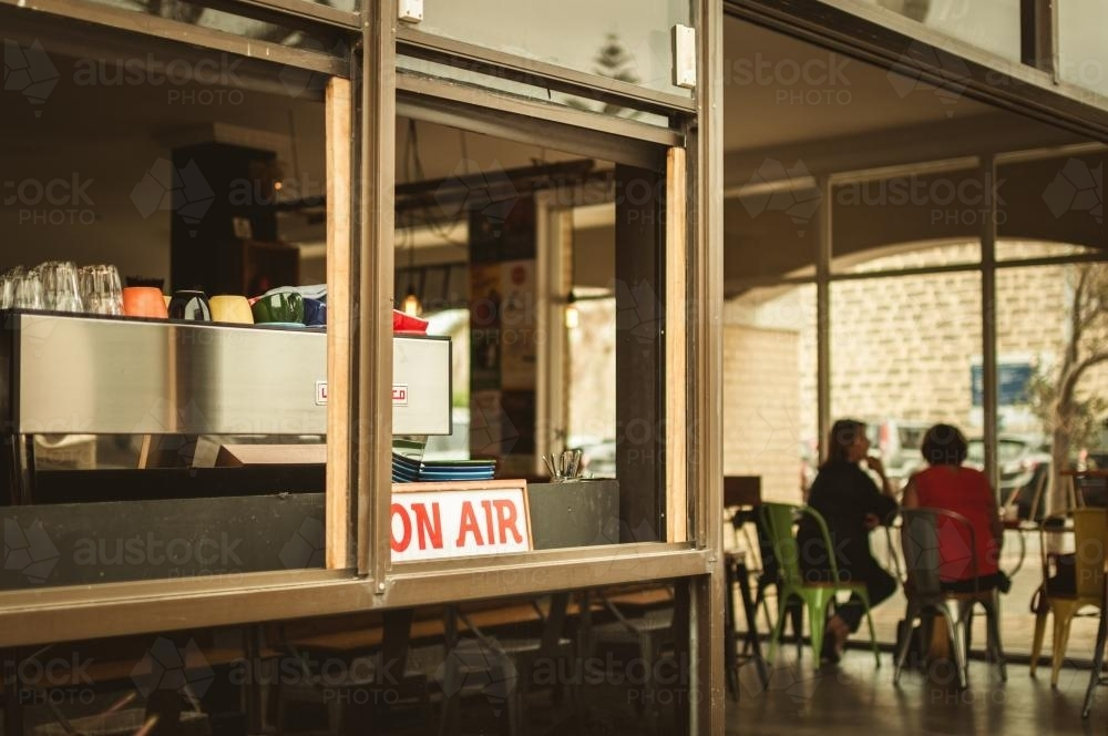View of Coffee Machine and People in a Cafe - Australian Stock Image