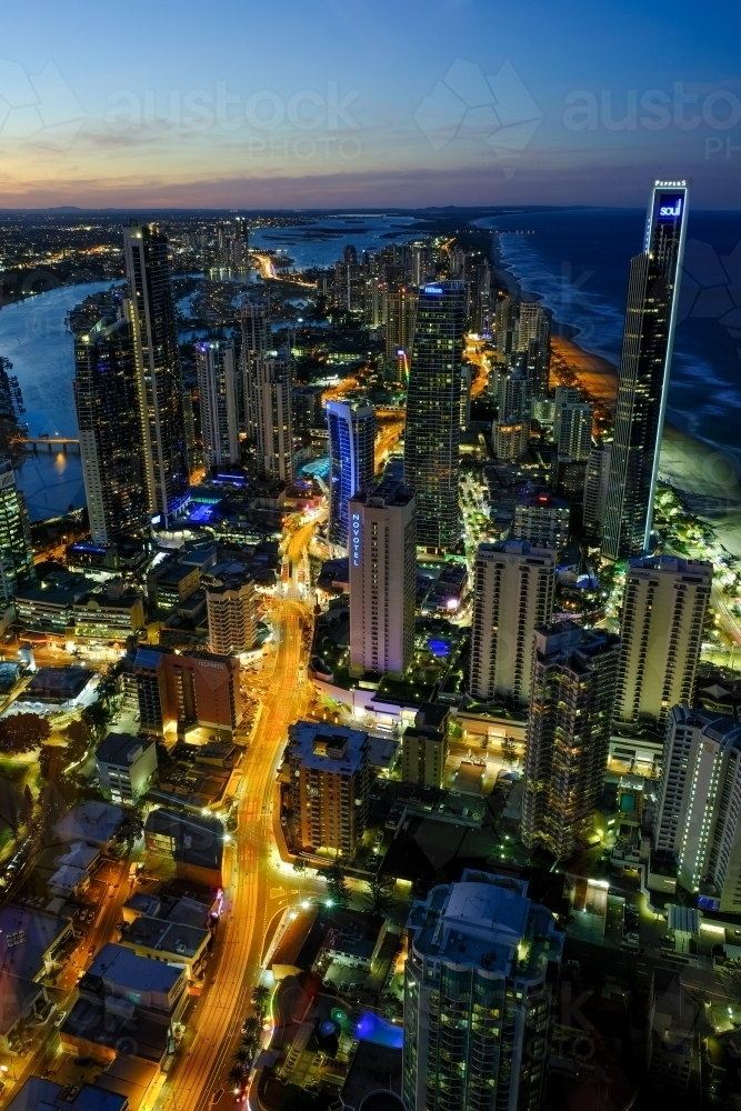View of Surfers Paradise lit up at night - Australian Stock Image