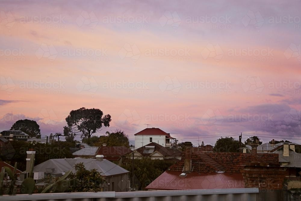 view of the neighbourhood during a winter sunrise - Australian Stock Image