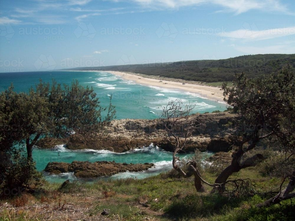 View over Main Beach, North Stradbroke Island - Australian Stock Image
