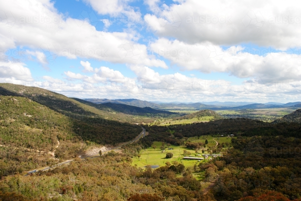 View over the New England Highway from the Moonbi Lookout - Australian Stock Image