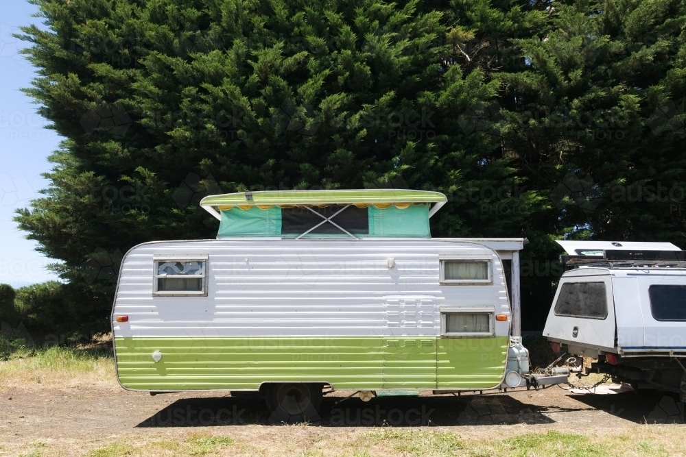 Vintage caravan with pop-top - Australian Stock Image
