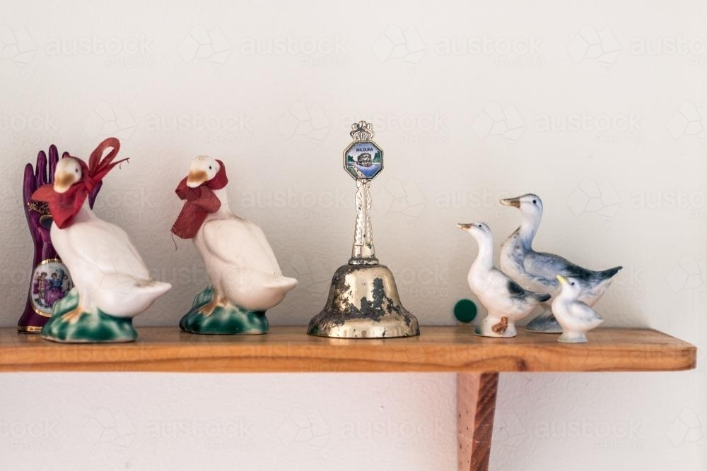 Vintage collectables on shelf - Australian Stock Image