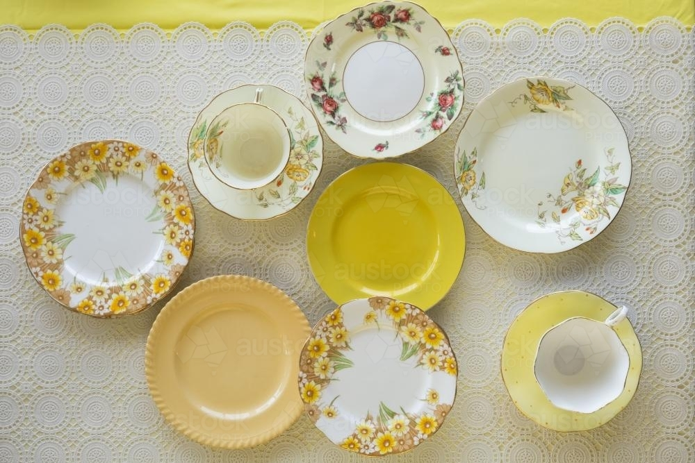 Vintage plates and teacup from overhead - Australian Stock Image