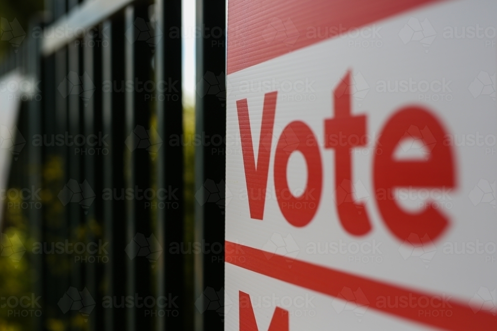 Vote sign outside a polling booth at an election - Australian Stock Image