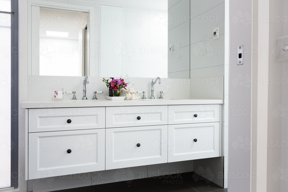 Image Of Wall Hung Vanity In A Luxury Hamptons Styled Bathroom Austockphoto