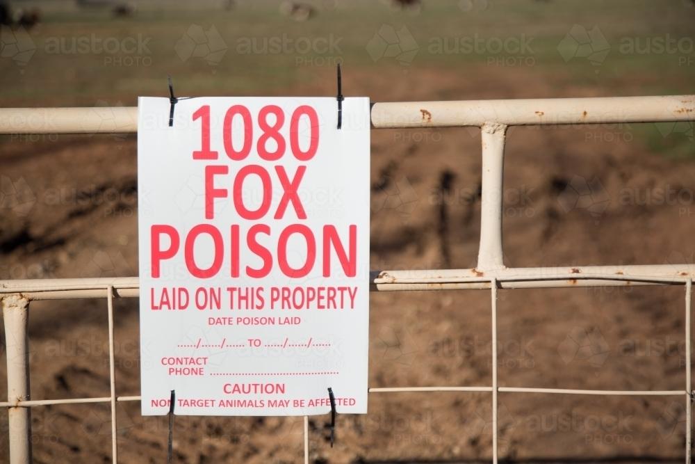 Warning sign for 1080 fox poison (bait) - Australian Stock Image