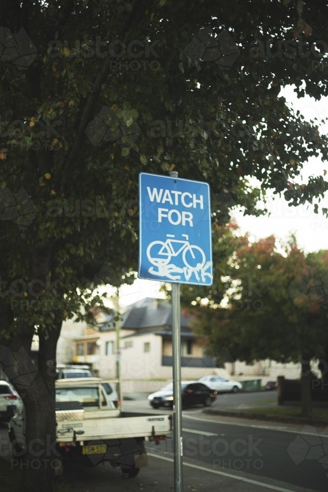 Watching for Bicycles Street Sign - Australian Stock Image