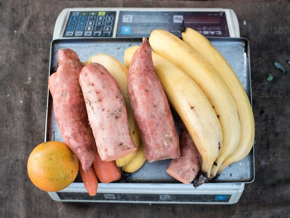 Weighing fruit and vegetables - Australian Stock Image