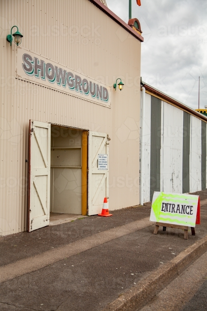Wide open entrance gates of the local showground - Australian Stock Image