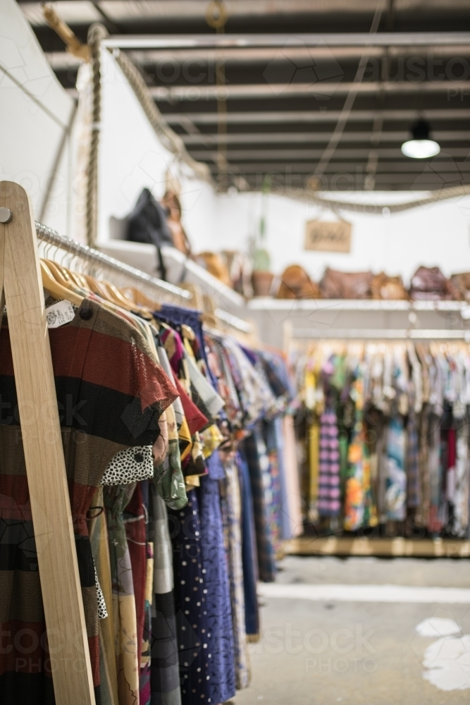 d3db9c0abc9 Womens vintage clothing for sale in market - Australian Stock Image