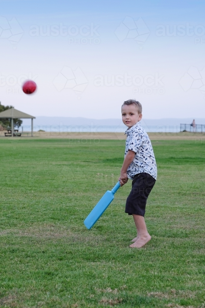 Young boy ready to hit a cricket ball in the park - Australian Stock Image