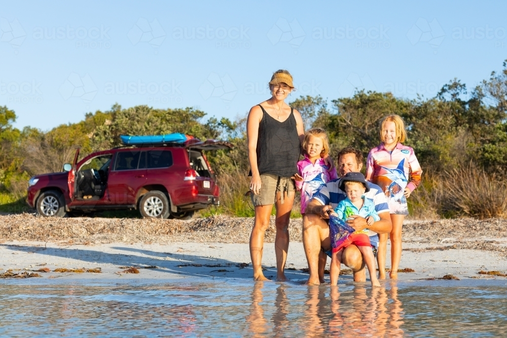young family on a beach holiday - Australian Stock Image