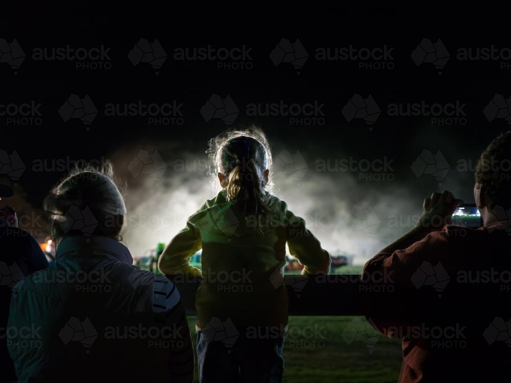 Young Girl Watching the Uralla Show Demolition Derby - Australian Stock Image