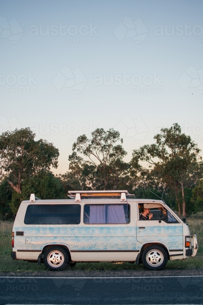 Young man road tripping across Australia - Australian Stock Image