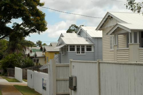 Row of wooden Queenslander houses